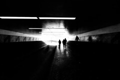Light at the end of the tunnel (Paul Wrights Reserved) Tags: light leadinglines leading tunnel contrast blackandwhite dark silhouette silhouettes family together underpass spooky people