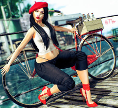983-this-is-my-bicycle (lindalindalein mayo) Tags: equal10 fameshed limerence lunar ncore sl second life new blog fashion style bento digital art linda red black bicycle tour maitreya woman catwa