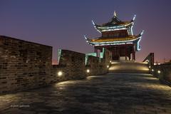 Suzhou City Walls (pietkagab) Tags: suzhou city walls pavilion night twilight ancient china chinese east building stone old town pietkagab photography pentax pentaxk5ii piotrgaborek travel trip tourism sightseeing asia asian