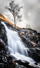Waterfall and a Tree (amcgdesigns) Tags: andrewmcgavin waterfall tree clouds glennevis slowshutterspeed eos7dmk2 scottish scottishlandscape scottishmountains scotland fortwilliam landscape sigma1850mmf28 water
