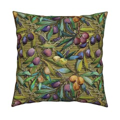 PROVENCE OLIVES WATERCOLOR MUSTARD STRIPED cushion by Floweryhat (FLOWERYHAT DESIGNS) Tags: floweryhat fabrics spoonflower roostery fabric pod cotton polyester olives provence mustard yellow green upholstery sewing stiching stash striped leaf leaves fruits summer autumn france french watercolor painted sunny shadows multicolor food flora textile pillow pillowcase throwpillow cushion coussin oreiller taiedoreiller