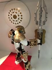 Takanuva Returns. part 7 (ArmoredToa) Tags: lego bionicle takanuva toaoflight light knight revamp moc repaint custom new weapon gold white kanohi avokii temple diorama