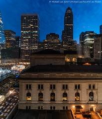 Library 1 (20190127-DSC01515-Pano) (Michael.Lee.Pics.NYC) Tags: newyork nypl newyorkpubliclibrary bryantpark gracebuilding 500fifthavenue hotelview parkterracehotel architecture cityscape aerial night bluehour dawn morning rooftop shiftlens panorama sony a7rm2 laowa12mmf28 zerod magicshiftconverter