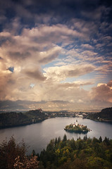 Lake Bled Slovenia Sunset (Russell Eck) Tags: lake bled slovenia radovlica europe russell eck beautiful autumn fall sunset longexposure long exposure mountain tree forest basin nikon d5100 color nature landscape wilderness clouds skyscape