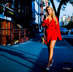 The New Yorkers - Lady in red (François Escriva) Tags: street streetphotography us usa nyc ny new york people candid olympus omd photo rue sun light woman colors sidewalk manhattan blue red beautiful cute pretty dress hair blond
