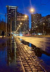 "Blue hour in Sokol'niki district / синий час в Сокольниках (soleterranean) Tags: urban ""urbanlandscape"" lights citi iphone russia building reflection moscow blue blu ""bluehour"" iphonexs"
