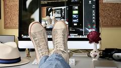 Putting my feet up (Colin Bell Writer) Tags: feet shoes computers desks desktops allstarshoes converse conversetrainers mac imac panamahat