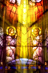 Stained Glass Angels 3-0 F LR 2-9-19 J149 (sunspotimages) Tags: glass stainedglass church cathedral window windows cameramovement digitalmanipulation artwork artistic cathedralstainedglass churchstainedglass