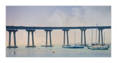 San Diego-Coronado Bridge (Christina's World!) Tags: bird blue bright bridge scenic sandiego sky sea harbor boats sailboat coronado landscape california topaz artistic creative digitalpainting frame impressionistic impressionism kurtpeiser light outdoors ocean painterly seascape textures unitedstates usa view water waterscene exotic architecture landmark morning fragiletouch dockbay