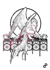 Griffon gothique (Lune Noire Creation) Tags: lune noire creation griffon gothique vecteur lumière noir et blanc rosace mythologie