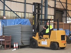 VRT Lead Engineer Andy Wagstaff using the forklift to transport the perimeter fencing at Southend Airport 15.06.18 (Trevor Bruford) Tags: vrt vulcan restoration trust xl426 southend airport avro nuclear bomber cold war plane jet aircraft airplane aviation raf tin triangle delta lady royal air force lead engineer volunteer andy wagstaff