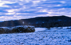 Winter Evening (cheesecakeFTW) Tags: winter snow landscape sunset evening sky clouds fields forest