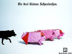 Die drei kleinen Schweinchen - Barth Dunkan. (Magic Fingaz) Tags: cochon pig origamipig porc maiale 猪 svinja cerdo सूअर babi 豚 beraz varken porco свинья свиња หมู domuz schwein