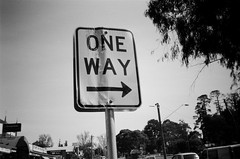 Sign - One Way (Matthew Paul Argall) Tags: hanimex35es fixedfocus 35mmfilm blackandwhite blackandwhitefilm sign kentmerepan100 100isofilm roadsign streetsign