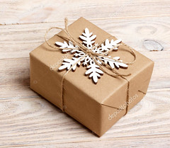 Christmas handmade gift box decorated with craft paper and white snowflake on white wooden background top view. Winter xmas holiday theme. Happy New Year. Merry christmas greeting card (drey) Tags: background celebration christmas decoration gift greeting handmade holiday paper snowflake winter xmas december decor decorate decorative festive merry ornament season tradition box event package present surprise white brown craft design nobody 2018 banner card congratulation eve flatlay frame grunge happy invitation natale newyear noel packaging photo postcard rustic special topview
