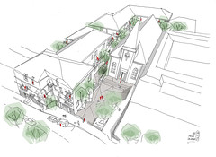 Commissioned architecture sketch done this afternoon, showing public and green spaces in this mixed housing and refurbishment project. (velt.mathieu) Tags: architecture sketch digital pen 스케치 building croquis