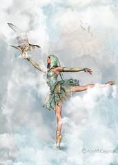 Flying High (_Ann m_) Tags: mmm mmmchallenge photoshop photomanipulation photoart sky ballet buzzard edit4fun clouds manipulation ballerina imagination