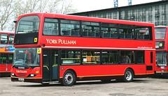 One of three Scania OmniDekkas recently acquired by York Pullman is YN56FEG looking pristine in between duties at Rufforth. (Gobbiner) Tags: scanian94ub yorkpullman strensall eastlancs metrobus 946 londongeneral omnidekka yn56feg rufforth yorkpullmanbuscouk