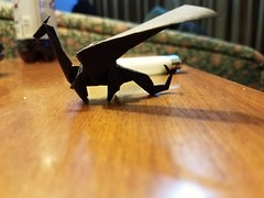 Origami dragon folded from 15cm folia paper. (Matthew J. Dunstan) Tags: