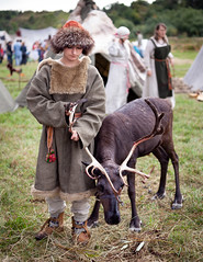 Girl and her deer (KonstEv) Tags: deer fawn clothes russian ancient farm village antler horn molt zeiss makroplanar