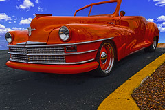 Orange Crush (oybay©) Tags: chrysler classiccar car automobile suncitywest arizona orange yellow stripe color colors colorful blue sky orangecar contrast