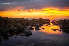 Carrickalinga Beach sunset (*ScottyO*) Tags: carrickalinga sa fleurieu southaustralia australia beach shore coast coastal landscape seascape sea ocean water rocks sun sunshine sunburst sunset evening dusk goldenhour golden yellow sky clouds orange