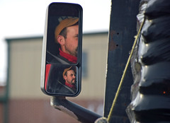 Truck Driver (MTSOfan) Tags: mirrors driver trucker truckdriver intersection waiting man traffic ballcap beard