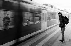 Sound of traveling (Guido Klumpe) Tags: train zug spiegelung reflection blur longexposure motion kontrast contrast gegenlicht shadow schatten silhouette gebäude architecture architektur building perspektive perspective candid street streetphotographer streetphotography strasenfotografie strase hannover hanover germany deutschland city stadt