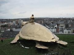 Bronze tortoise sculpture, Citadelle, Namur, Belgium (Paul McClure DC) Tags: namur namen belgium belgique wallonia wallonie feb2018 scenery castle citadel river modern sculpture meuse maas ardennes