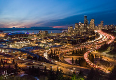 The twilight blue ought to be the best shade of blue! (ashpmk) Tags: drone droneography droneshot dronephotos dji djimavicair mavicair air aerial seattle seattlelife seattlephotos seattlite seahawks downtownseattle cityscape lighttrails twilighttown twilight blue bluesky sunset sunsetsky sunsetcolors dusk