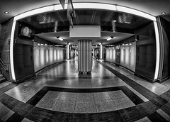 Railway tunnel (jefvandenhoute) Tags: belgium belgië belgique brussels brussel bruxelles blackandwhite monochrome light shapes fisheye railwaystation railways
