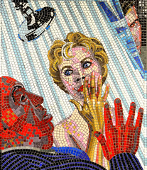 Psycho (R~P~M) Tags: art mural mosaic train railway station leytonstone centralline londonunderground alfredhitchcock london england uk unitedkingdom greatbritain