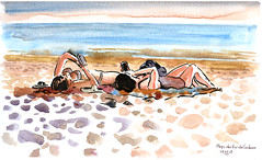 Cordouan (sylvain.cnudde) Tags: holidays croquis landscape paysages summer sketch france girls swimsuits maillot plage sable
