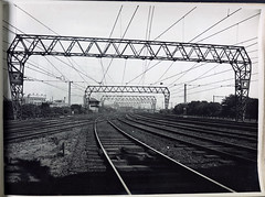 Pin Arch Construction and Cross Span construction, Nth. Melbourne. (Public Record Office Victoria) Tags: railways train electrification blackandwhite archives victoria pin arch north melbourne tracks 1919