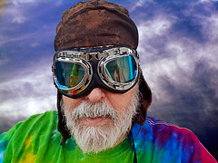 Aviation (EmperorNorton47) Tags: portolahills california photo digital spring selfie selfportrait selfpic costume mask beard sunglasses goggles photoshop aviatorscap middleaged clouds sfx