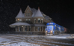 A Peaceful place (GLC 392) Tags: durand union station depot brick building snow night time diamond glc great lakes central railroad railway train emd gp382 ostn beautiful quaint quiet peaceful life pure mi michigan flash