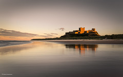 Bamburgh Castle bathed in golden light (He Ro.) Tags: 2018 northumberland sunset beach sand reflection castle bamburghcastle sea northsea landscape seascape dunes water england uk splittoning