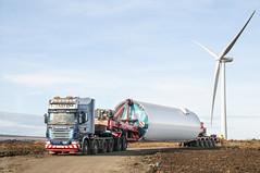 McFadyens Heavy Haulage V100 MFT (Scottish Photography Productions | David Pollock) Tags: mcfadyens heavy haulage v100 mft scania 8x4 r620 ambau base tower wind turbine renewables turbines energy site nooteboom clampset clamp 2 axle 5 campbelltown glasgow scotland united kingdom uk