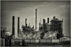 Oil refinery - Olieraffinaderij (schreudermja) Tags: oilrefinery nikond800e nederland belgium thenetherlands belgie martyschreuder outdoor bw monochrome industry industrie olieraffinaderij total exxon olie doel basf antwerpen antwerp port haven scheldelaan n101