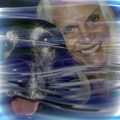 My Old Swimming Buddy, Long Gone, But Not Forgotten (soniaadammurray - On & Off) Tags: digitalphotography manipulated experimental collage picmonkey photoshop abstract pets water swim sports friendship together selfportrait smile love artchallenge