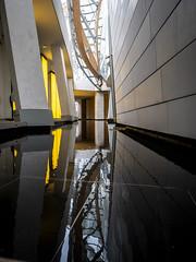 Paris 2019: Reflected symmetry (mdiepraam) Tags: paris 2019 fondationlouisvuitton architecture building grotto pond reflection