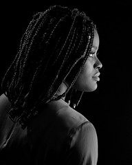 Blessing, back profile (Howard Sandler (film photos)) Tags: model portrait profile largeformat blackandwhite lowkey film 4x5 graflex crowngraphic fp4 xtol schneiderkreuznach xenar