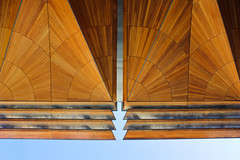 Auckland Art Gallery perspective (WinRuWorld) Tags: architecture auckland aucklandartgallery nz newzealand symmetry building pattern design fjmt archimedia toiotāmaki māori perspective wood kauriwood geometry abstract canon canonphotography roof portico entrance