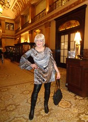 As The Saying Goes, If You Are Going To Be Seen . . . (Laurette Victoria) Tags: dress blonde laurette woman purse boots pleather leggings necklace hotel lobby milwaukee pfisterhotel