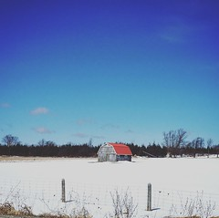 Little shed in the middle of no where (jessalynn_sammons) Tags: iphone fence snow field barn shed