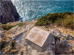 As a warning and in memory of Sven Greeff who, according to this memorial stone, died here on 4 June 2001 (Luc V. de Zeeuw) Tags: 04062001 cabosaovincente capesaintvincent cliff coast germany greeff memorial memory rock stone sven water waves sagres algarve portugal