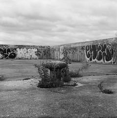 (geowelch) Tags: toronto torontoislands wardisland newtopographics landscape blackandwhite 120 film 6x6 mediumformat kodaktx320 hc110 dilutionh kiev88 volna380mm28 epsonperfection4870photo bollard overcast clouds