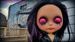 Breathe in deep and then ROCK this day! 👊🎧🎵💜 (Motor City Dolly) Tags: custom ooak blythe doll tan alpaca hair lid art