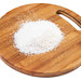Grated Coconut on the wooden board