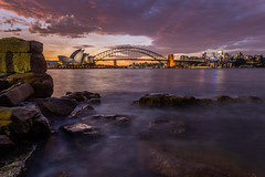 Rocky Foreground (Jared Beaney) Tags: canon canon6d australia australian photography photographer travel sydney harbour sydneyharbourbridge city cityscapes cityscape sydneyoperahouse sunset mrsmacquarieschair view views newsouthwales operahouse